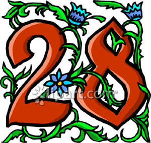 28 clipart clipart royalty free stock Number 28 With Blue Flowers - Royalty Free Clipart Picture clipart royalty free stock