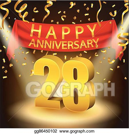 28th clipart image library download EPS Illustration - Happy 28th anniversary celebration. Vector ... image library download
