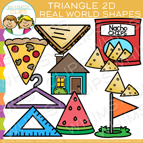 2d shape art clipart vector black and white Triangle 2D Shapes Real Life Objects Clip Art vector black and white