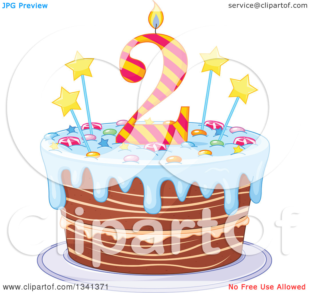 Clipart of a Second Birthday Cake with a Number Candle, Stars ... svg download