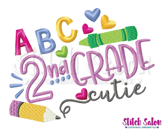 Second Grade Cutie Back To School Embroidery Design Files svg freeuse stock