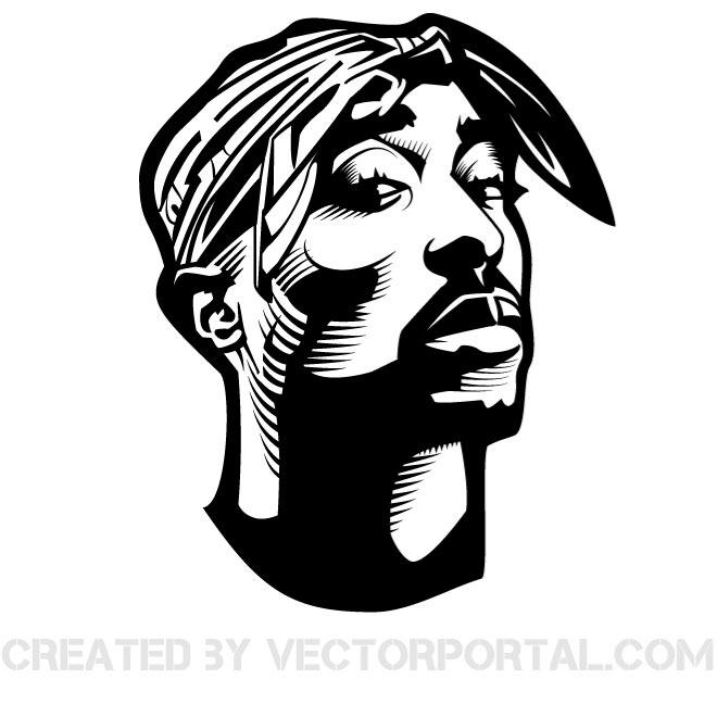 Tupac clipart clip art black and white stock RAPPER TUPAC SHAKUR VECTOR GRAPHICS - Free vector image in AI and ... clip art black and white stock