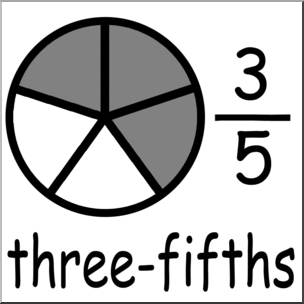 3 5 clipart picture freeuse Clip Art: Labeled Fractions: 05 3/5 Three Fifths Grayscale I ... picture freeuse