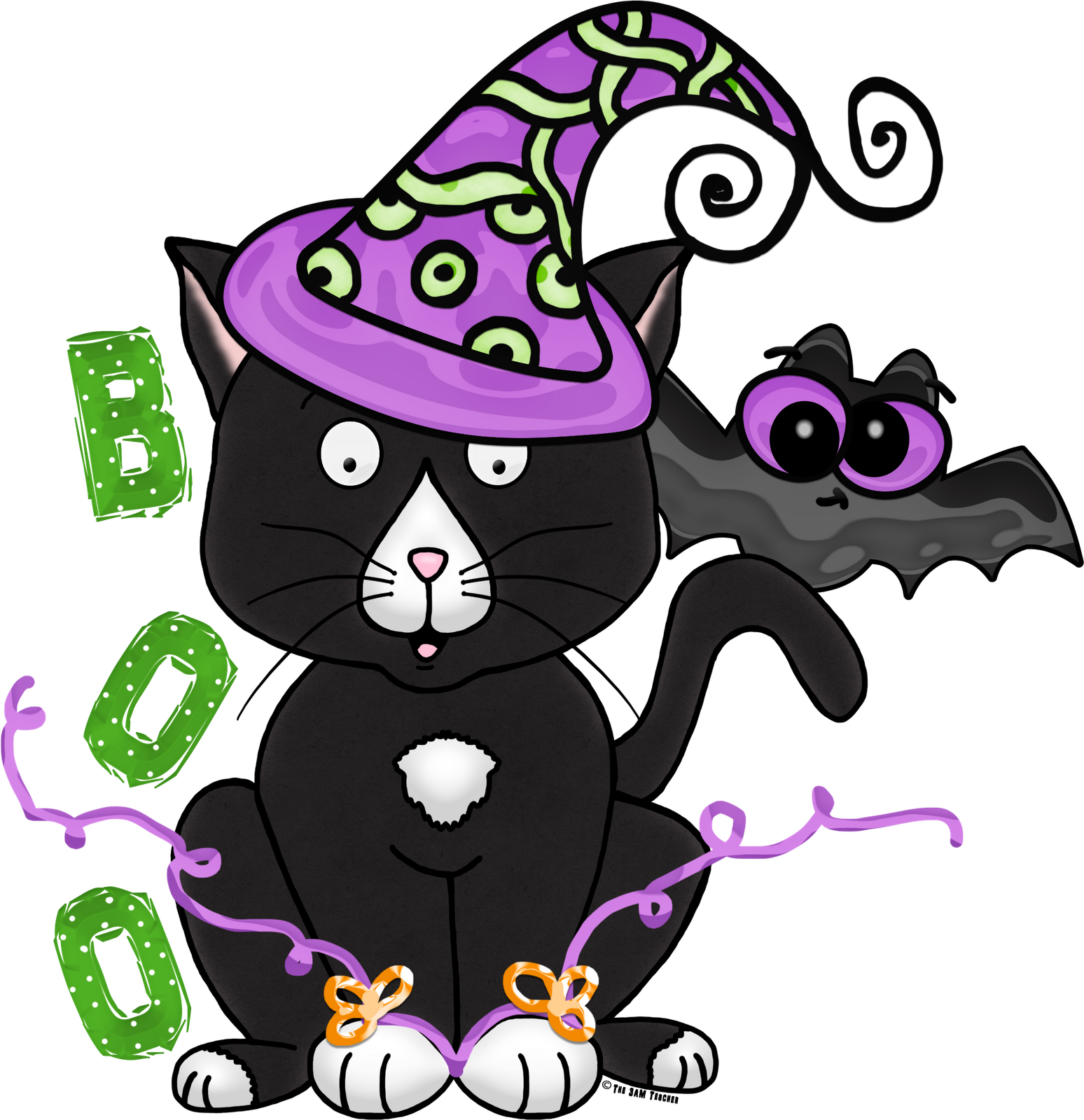 3 am clipart banner black and white download Free Halloween Kitty Clipart from the 3 AM Teacher (Download from ... banner black and white download