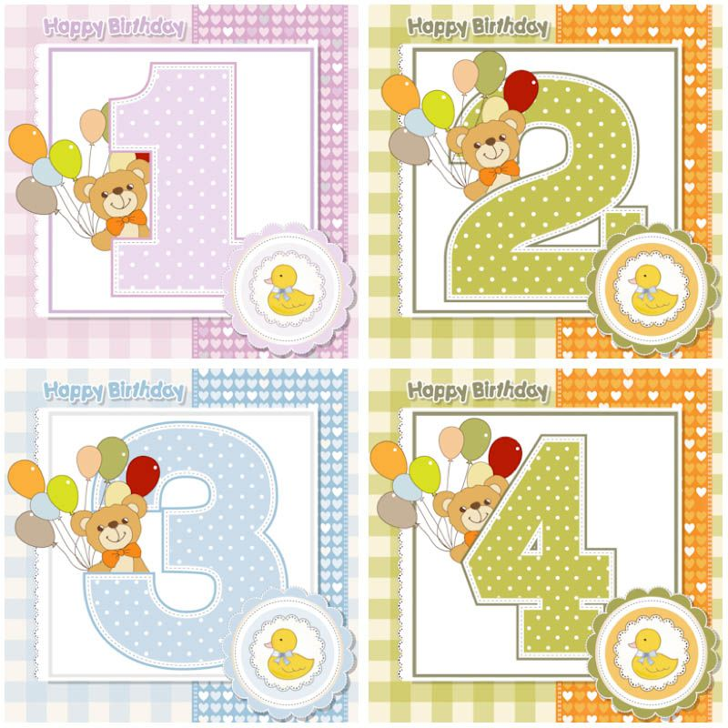 3 and a half years old clipart clipart free stock Set of 4 vector Baby Happy Birthday cards with teddy bear with ... clipart free stock