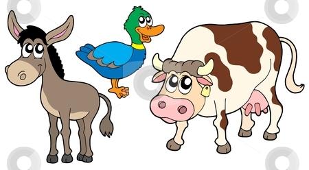 3 animals clipart clip art freeuse Farm animals collection 3 stock vector clip art freeuse