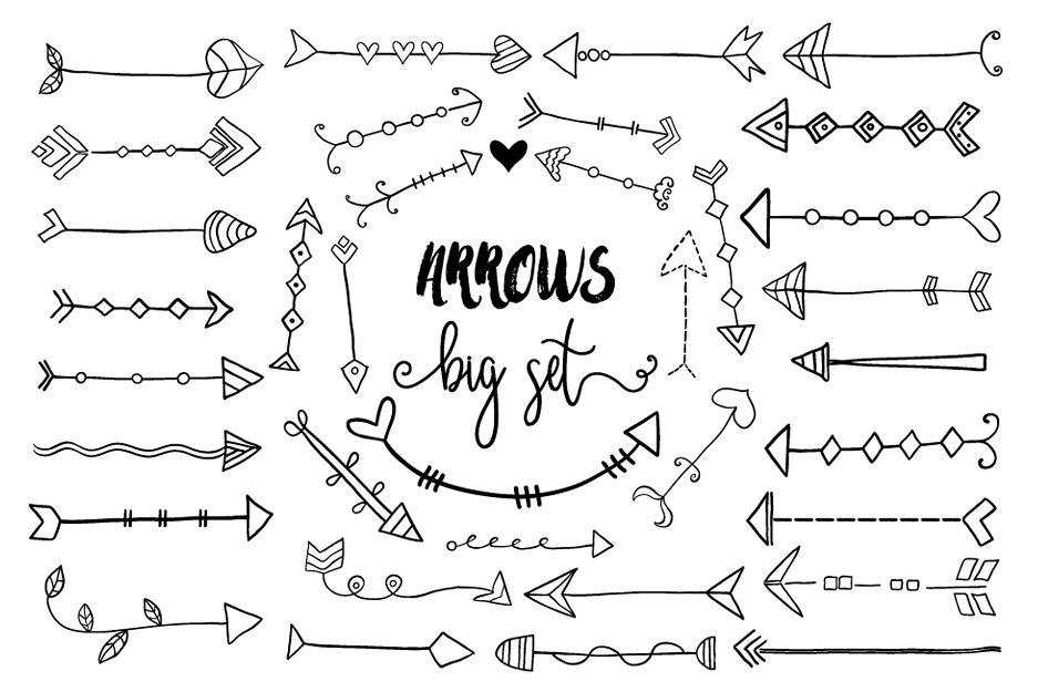 Hand drawn doodles clipart graphic royalty free stock Black hand drawn doodle arrows clipart, Tribal cute arrow clip art graphic royalty free stock