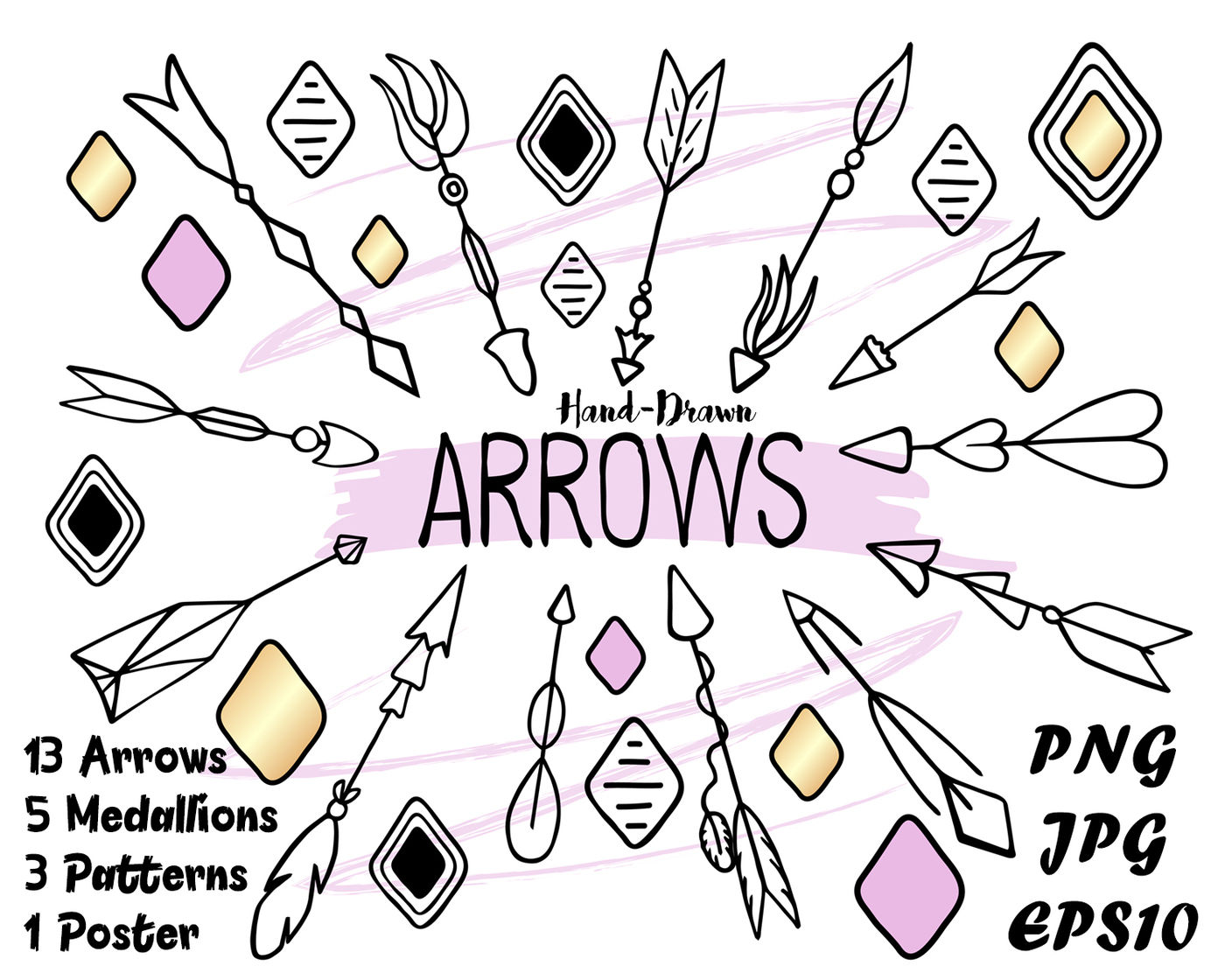 3 arrows tribal clipart png free download Tribal Arrows Clipart. Boho Print. Seamless Patterns By ... png free download