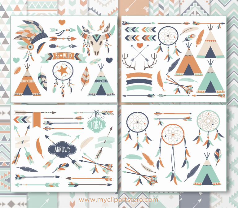 3 arrows tribal clipart image black and white library Bohemian Tribal 3 Clipart Bundle image black and white library
