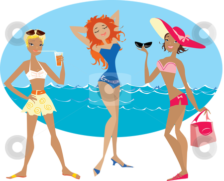 3 beach ladies clipart graphic royalty free Beach girls stock vector graphic royalty free