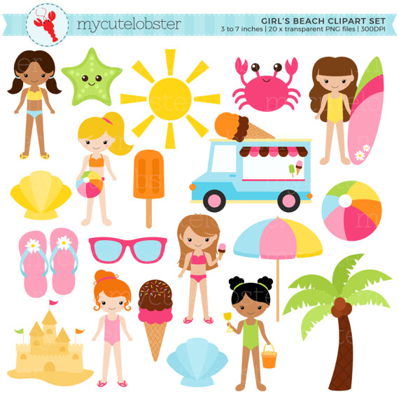 3 beach ladies clipart clip free stock Girls Beach Clipart Set - sandcastle, summer, ice cream, holiday ... clip free stock