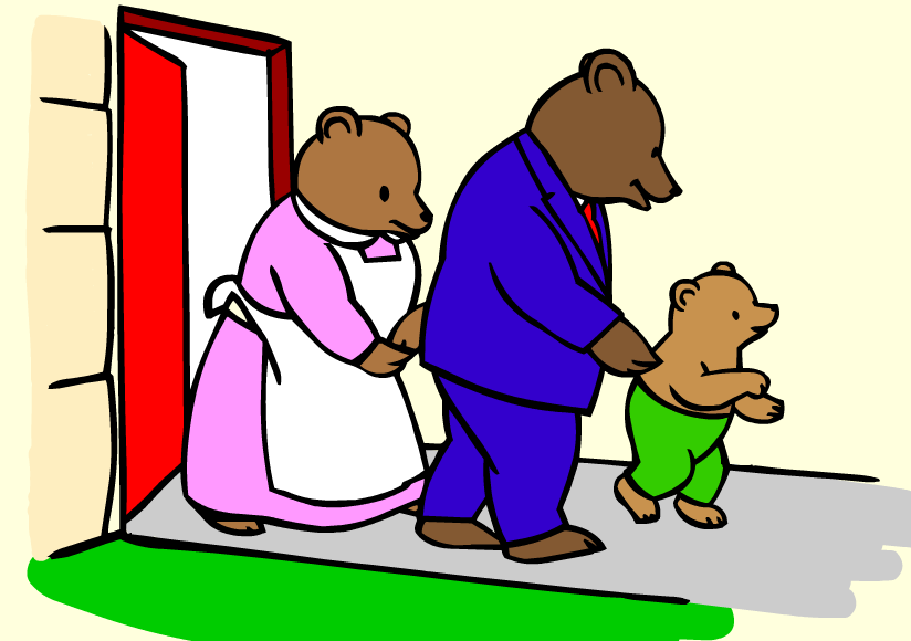 3 bears walking clipart image black and white stock Goldilocks And The Three Bears Clipart | Free download best ... image black and white stock