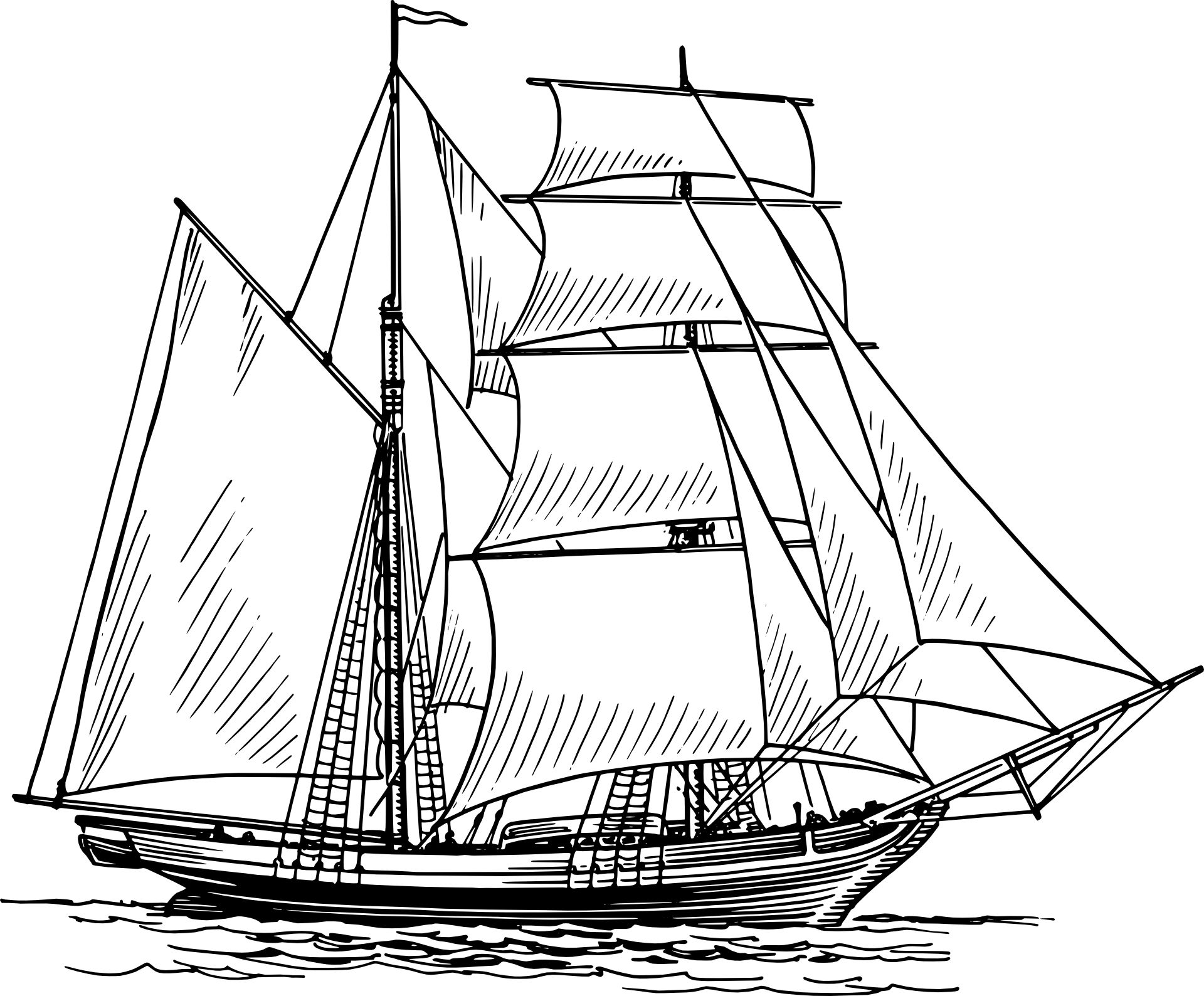 3 boats sailing away clipart freeuse library Historical Sailing Ships and Boats Coloring Pages | Clip Art ... freeuse library