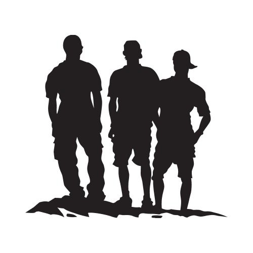 3 boys silhouette clipart png black and white library PP 3 BOYS Clip Art - Get Started At ThatShirt! png black and white library