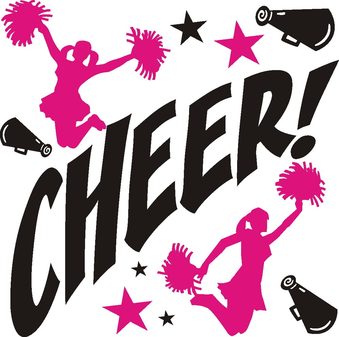 Library of cheerleading clip art black and white download png ...