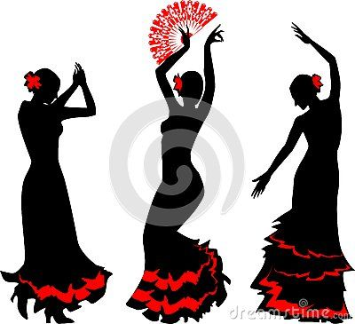 3 cute flamingo dancing clipart png royalty free download Three silhouettes of flamenco dancer with fan by Luayana, via ... png royalty free download