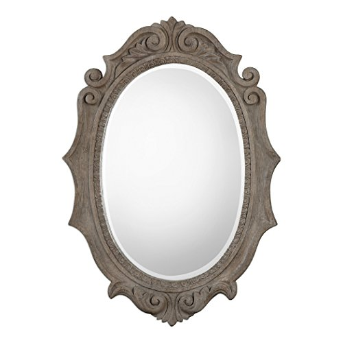 3 distressed ovals clipart graphic black and white download Amazon.com: Antique Style Distressed Scroll Oval Wall Mirror ... graphic black and white download