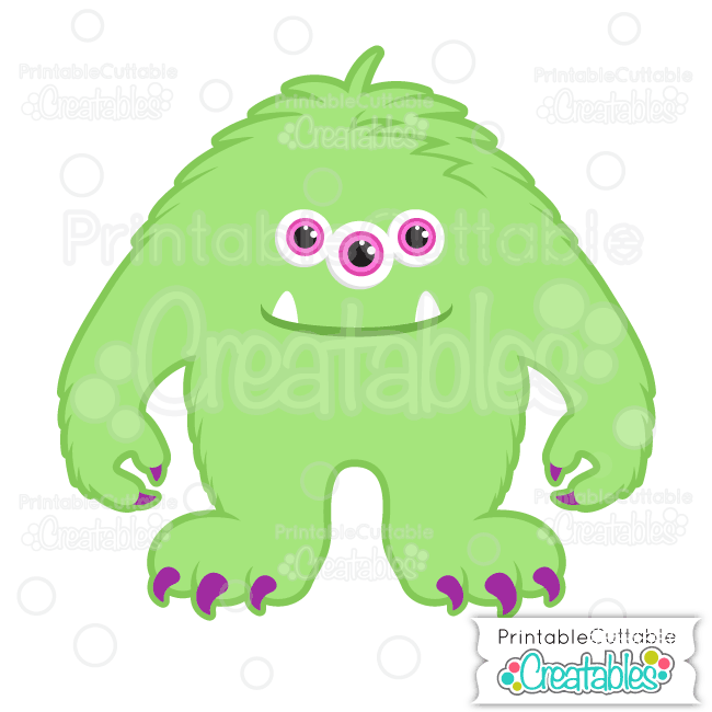 3 eyed monster clipart jpg free download Halloween Hairy Three-Eyed Monster SVG File & Clipart for Silhouette ... jpg free download