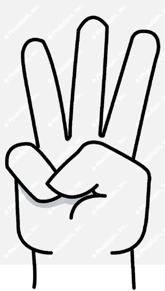 3 fingers on hand clipart clipart free Hand With Three Fingers Up | Silhouette | Silhouette, Coloring pages ... clipart free