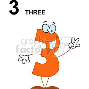 3 fingers up clipart picture black and white library Happy Number 3 Hold up Three fingers clipart. Royalty-free clipart # 378168 picture black and white library