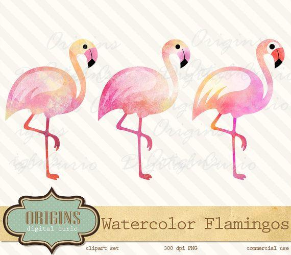 3 flamingos clipart clip art library download Pink Watercolor Flamingos - PNG Clipart Set for Invitations ... clip art library download
