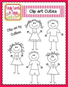 Family of 6 clipart 3 girls 1 boy - ClipartNinja graphic black and white