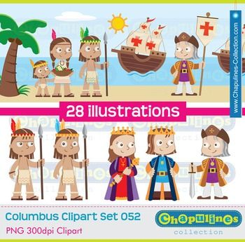 Columbus Clipart, The Discovery of America, Columbus day Set 052 ... png freeuse download