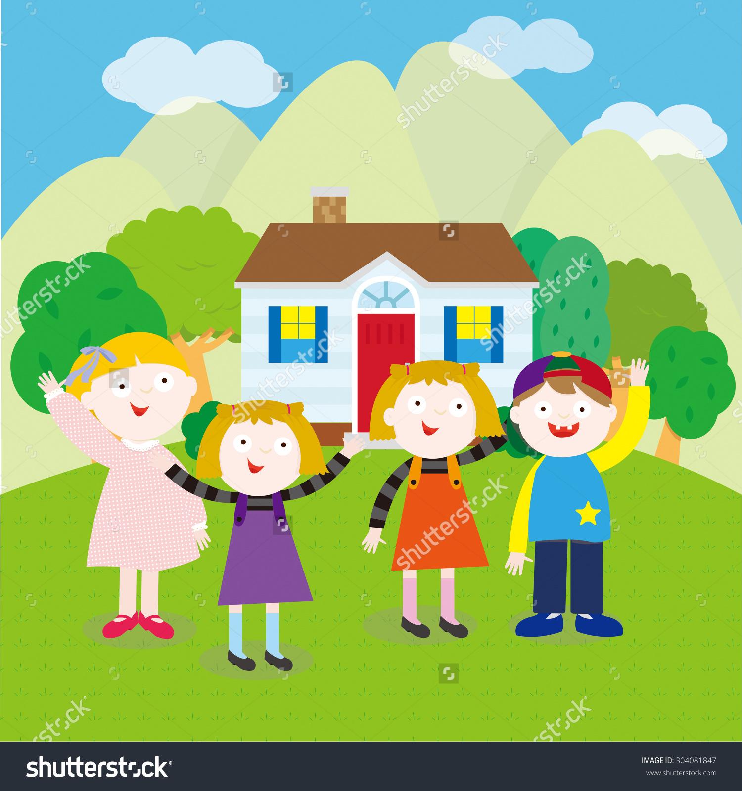 3 girls 1 boy clipart clip art freeuse stock 3 Girls 1 Boy Standing Front Stock Vector 304081847 - Shutterstock clip art freeuse stock