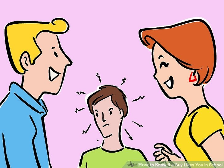3 guys 1 girl clipart graphic royalty free 3 Ways to Know if a Guy Likes You in School - wikiHow graphic royalty free