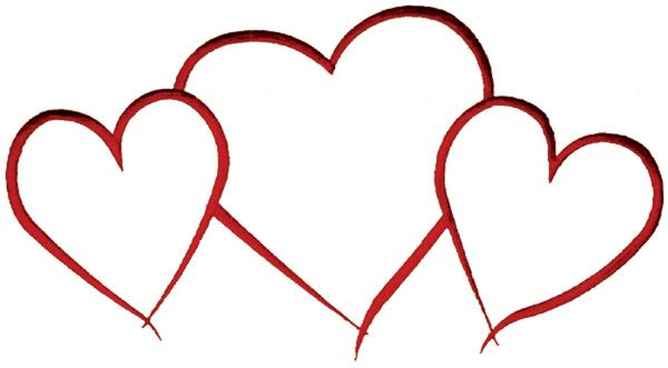 3 hearts clipart freeuse stock Hearts Outline Embroidery Design | Valentine\'s Day - Machine ... freeuse stock