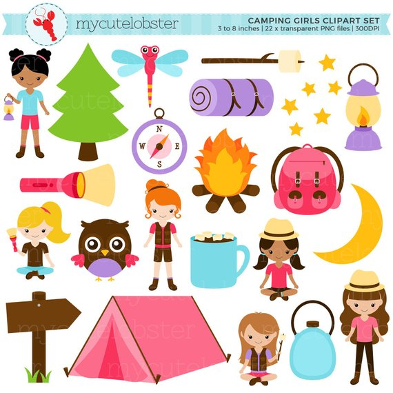 Camping Girls Clipart Set - clip art set of camping items, tent ... graphic transparent