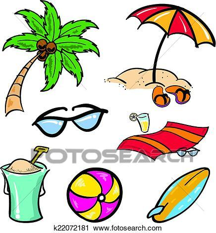 Beach items clipart 3 » Clipart Portal vector black and white library
