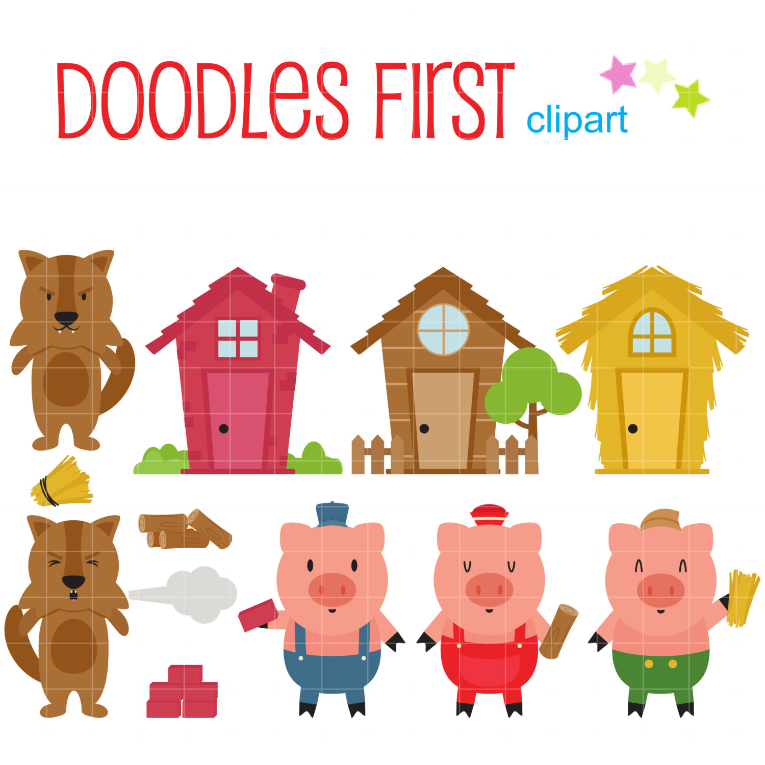 3 Little Pigs Clipart Group with 82+ items clip black and white