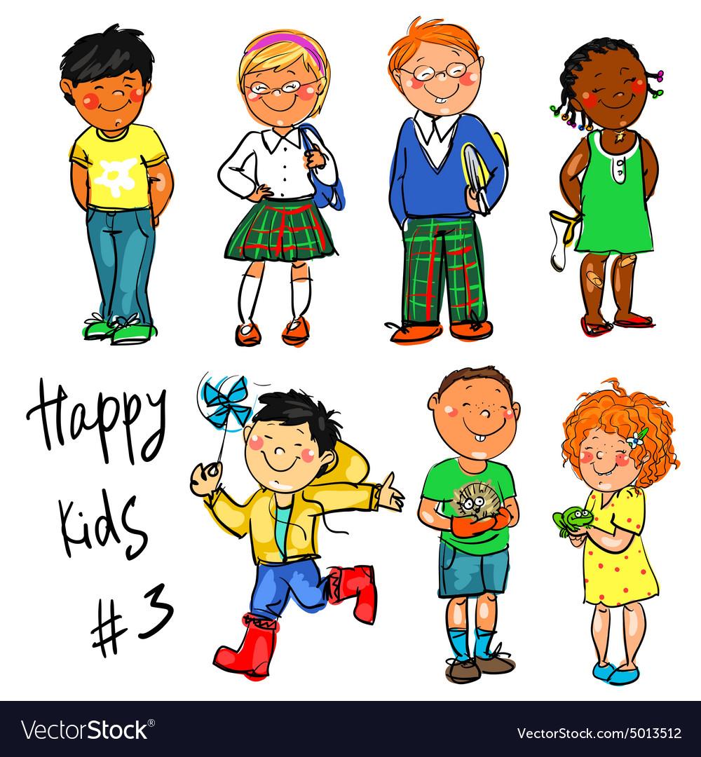 3 kids standing clipart vector transparent Happy Kids - part 3 Hand drawn clip-art vector transparent