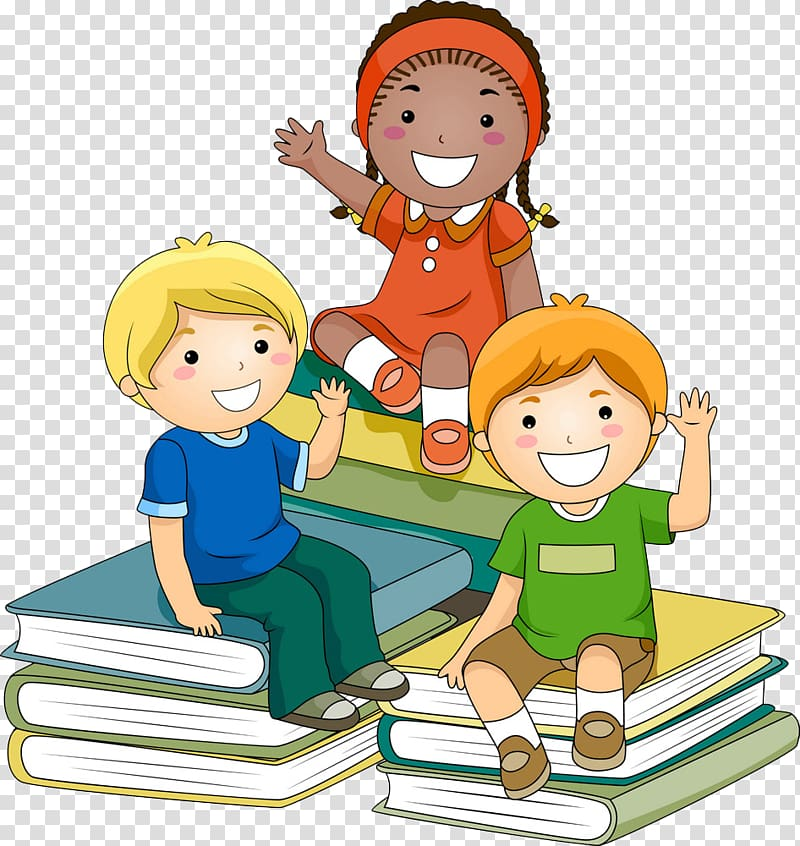 Clipart child waving bye clipart royalty free Three children sitting on books illustration, Learning Child ... clipart royalty free