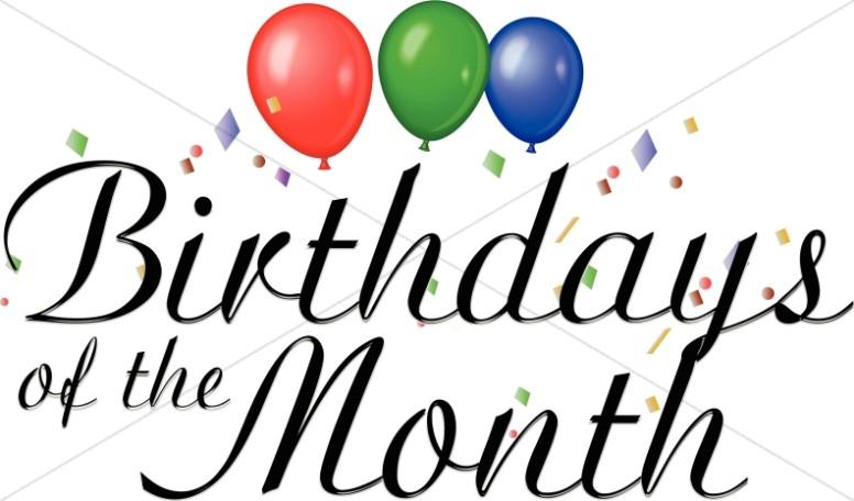 3 month birthday clipart clip art free Birthdays of the Month Clipart | Church Word Art clip art free