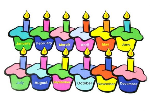 Birthday cake with months of the year clipart free