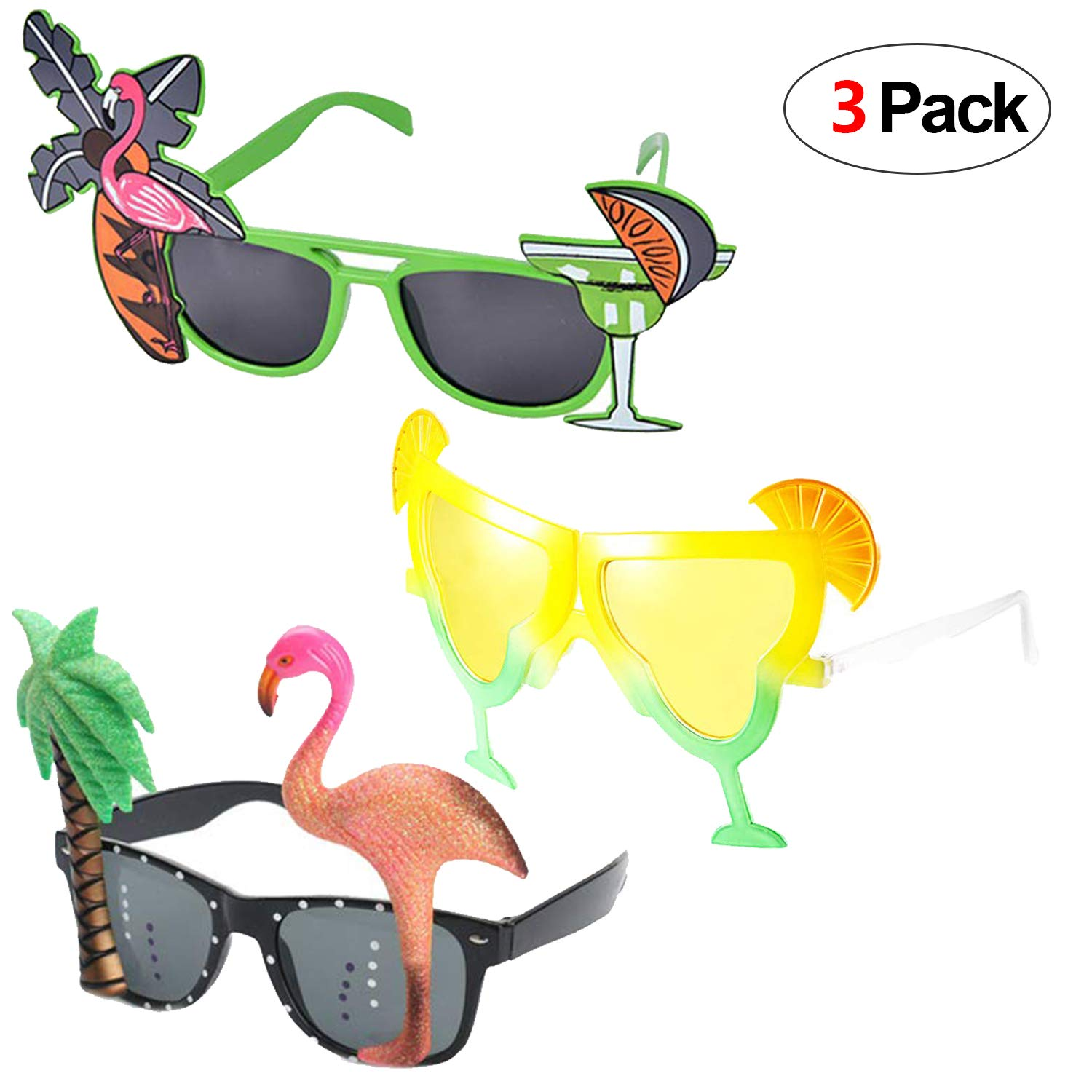 Howaf 3 Pairs Hawaiian Glasses Novelty Party Sunglasses Eyewear for ... picture library stock