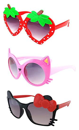 FANCYKIDS Kids Cat Strawberry Shaped Sunglasses for Toddler Girls Age 3-10 clip art royalty free library