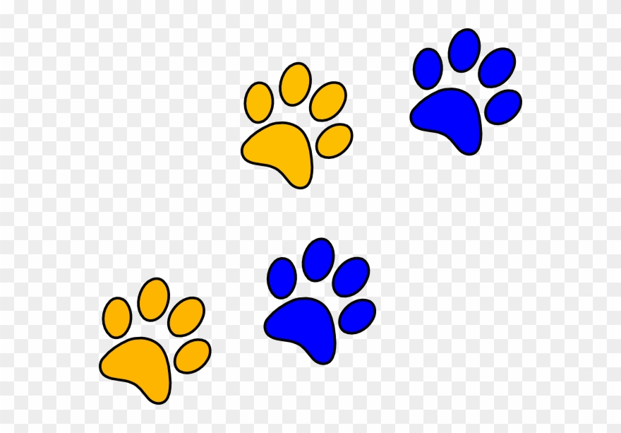 3 panther paws clipart image freeuse stock Panther Paw Print - Blue And Gold Paw Prints Clipart (#47464 ... image freeuse stock