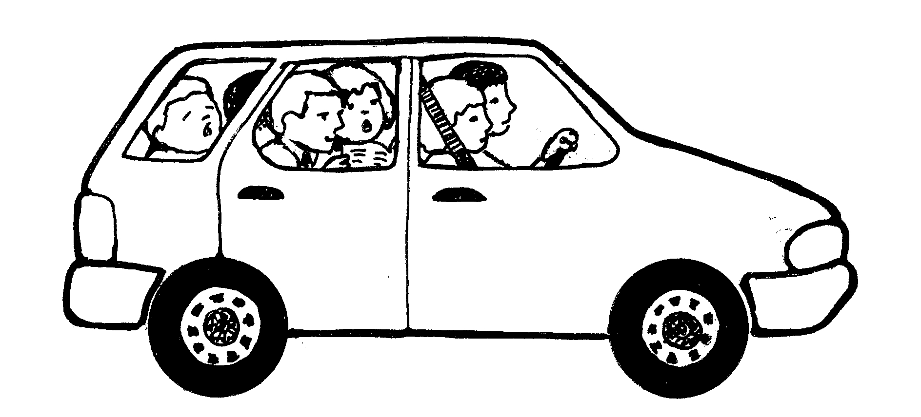3 people in car clipart