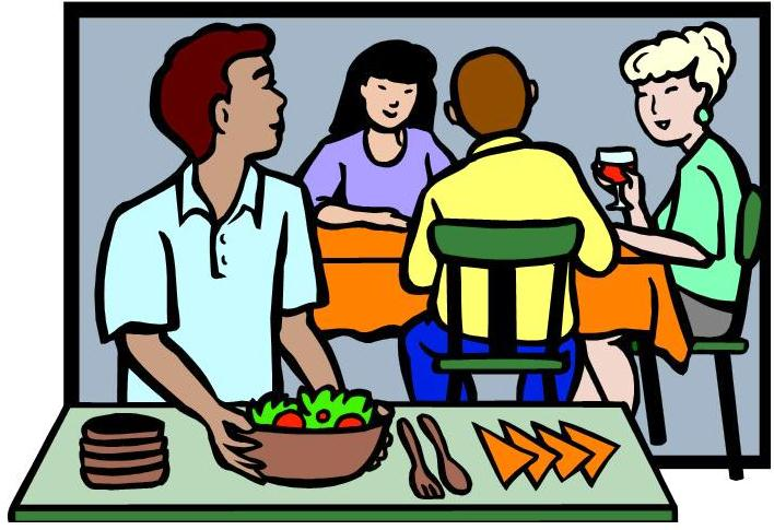 Free clipart of people eating dinner