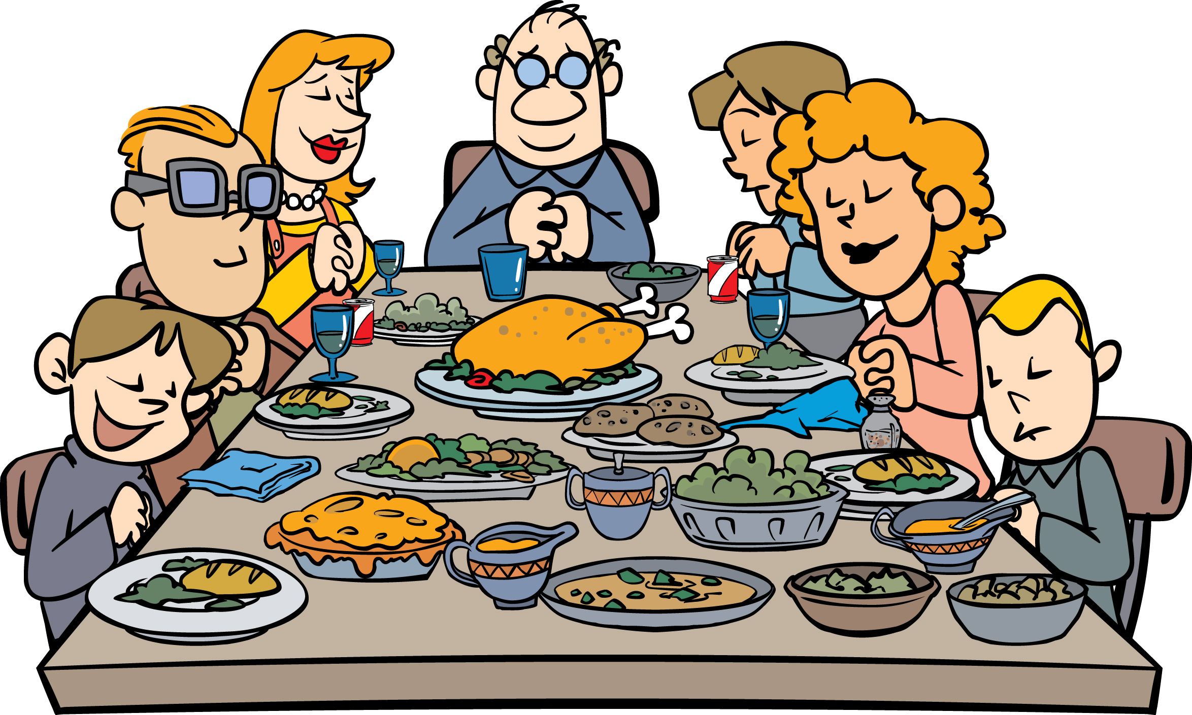 Black family eating dinner clipart