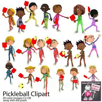 3 pickleball players clipart graphic black and white library Pickleball Sport Clip Art for PE | Pre-K ~ 8 Hot Off the Presses ... graphic black and white library