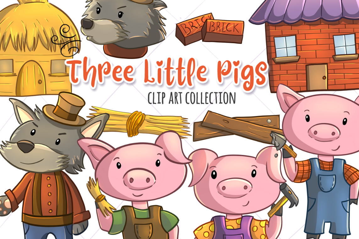 3 pigs clipart svg free download Three Little Pigs Clip Art svg free download