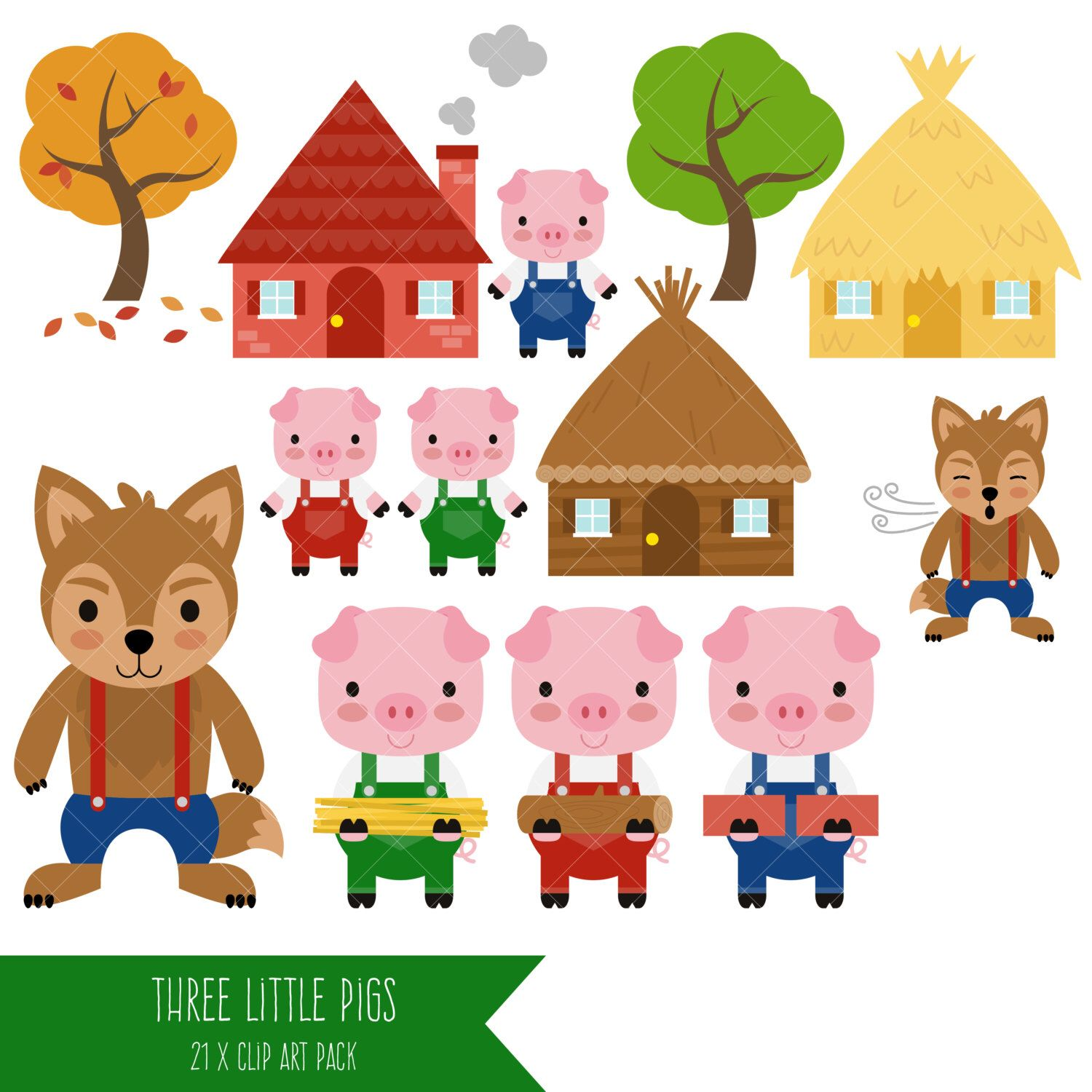 3 pigs clipart png library Three Little Pigs Clipart / Big Bad Wolf Clip Art   Maddies two ... png library