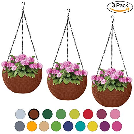 3 plant container clipart freeuse ALMI Hanna Hanging Planter 11 Inch [3 Pack] Round Plastic Decor Garden  Resin Flower Pot Chain Basket for Plant, Planters for Plants, for Indoor  and ... freeuse