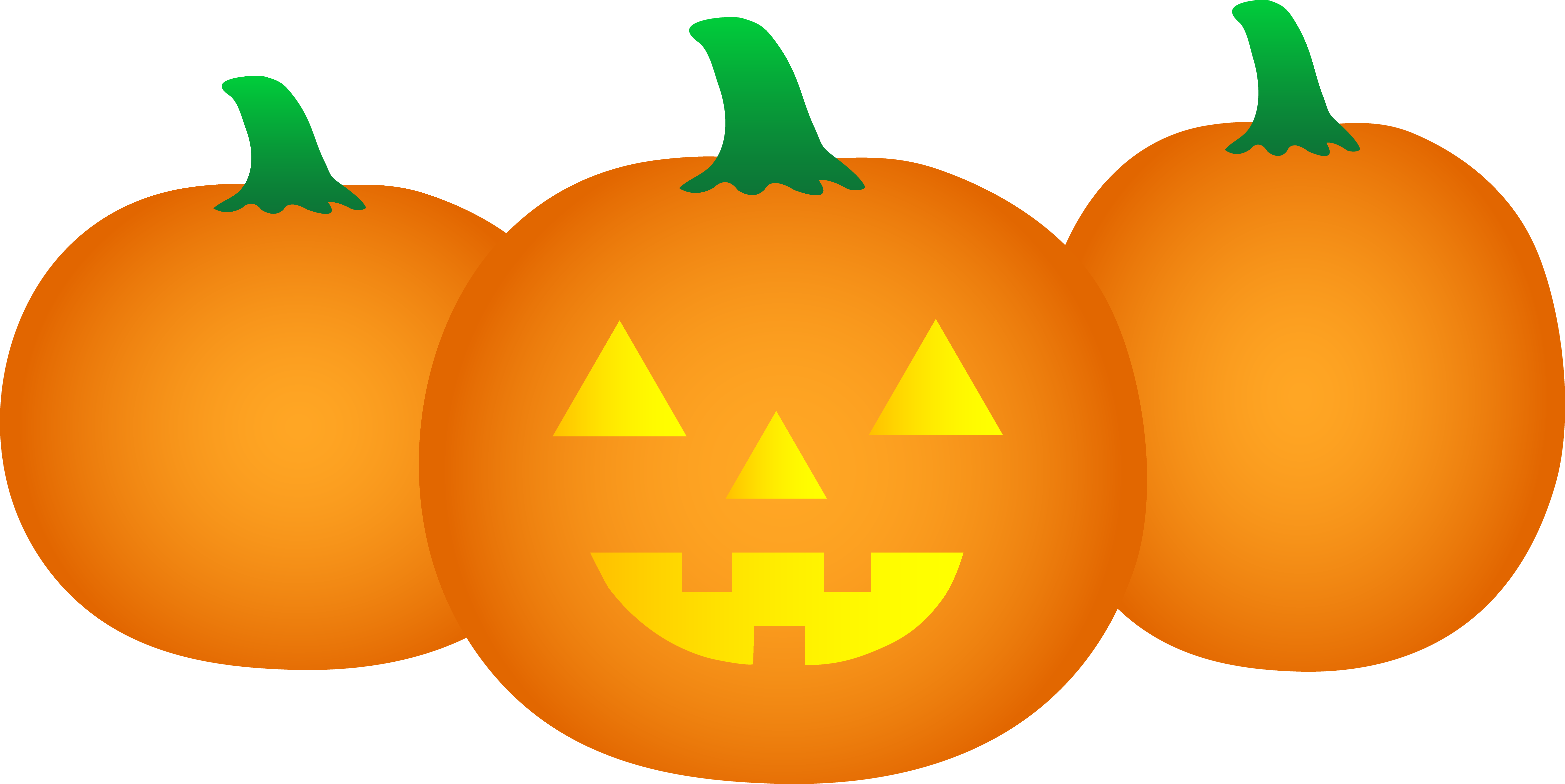 3 pumpkins clipart image freeuse download Three Halloween Pumpkins - Free Clip Art image freeuse download