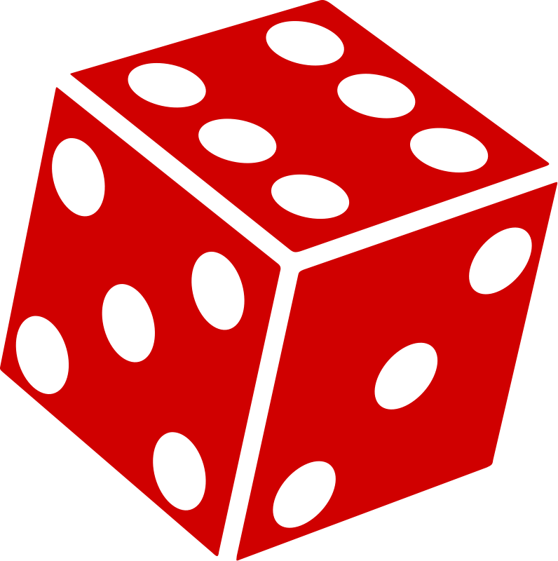 3 red dice clipart