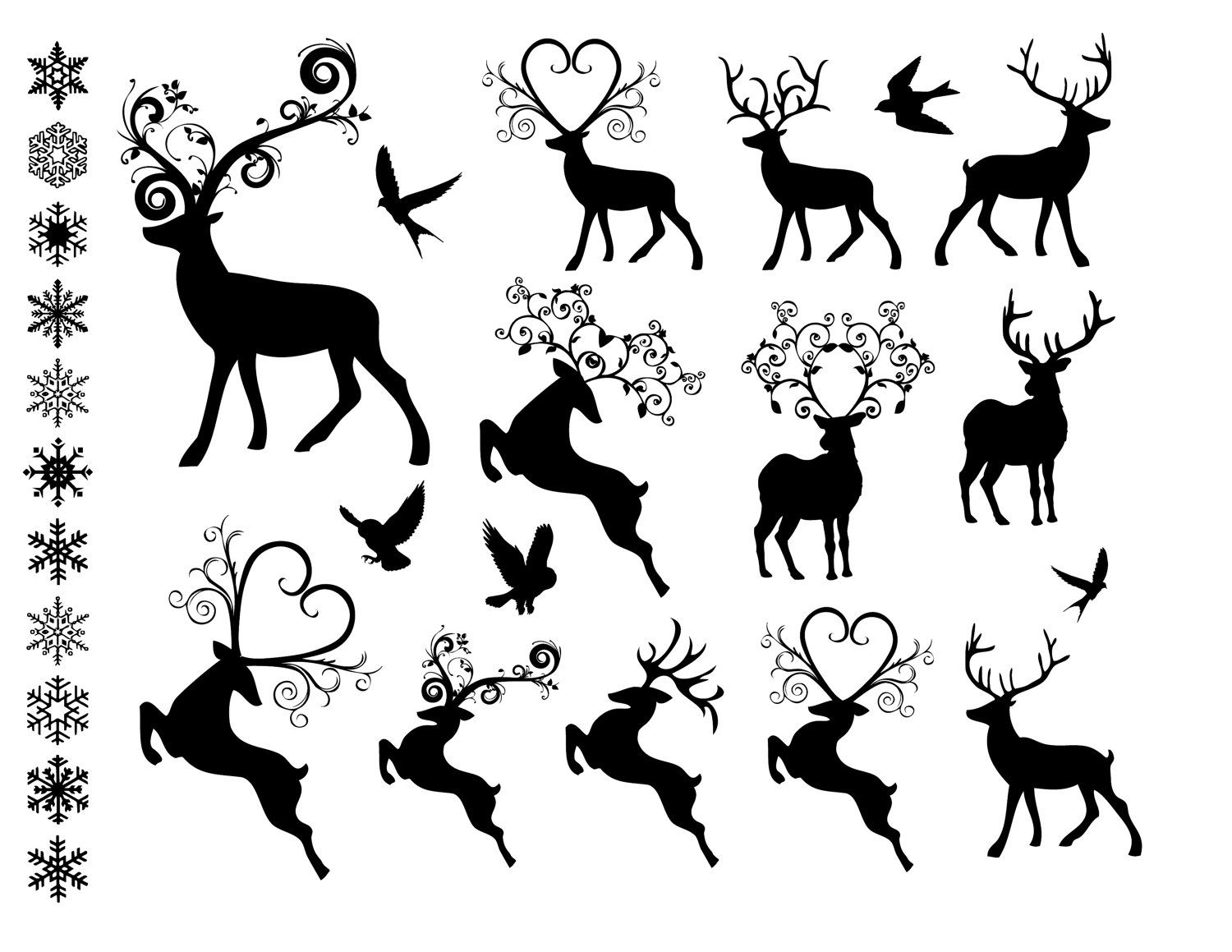 3 reindeer flying clipart black and white